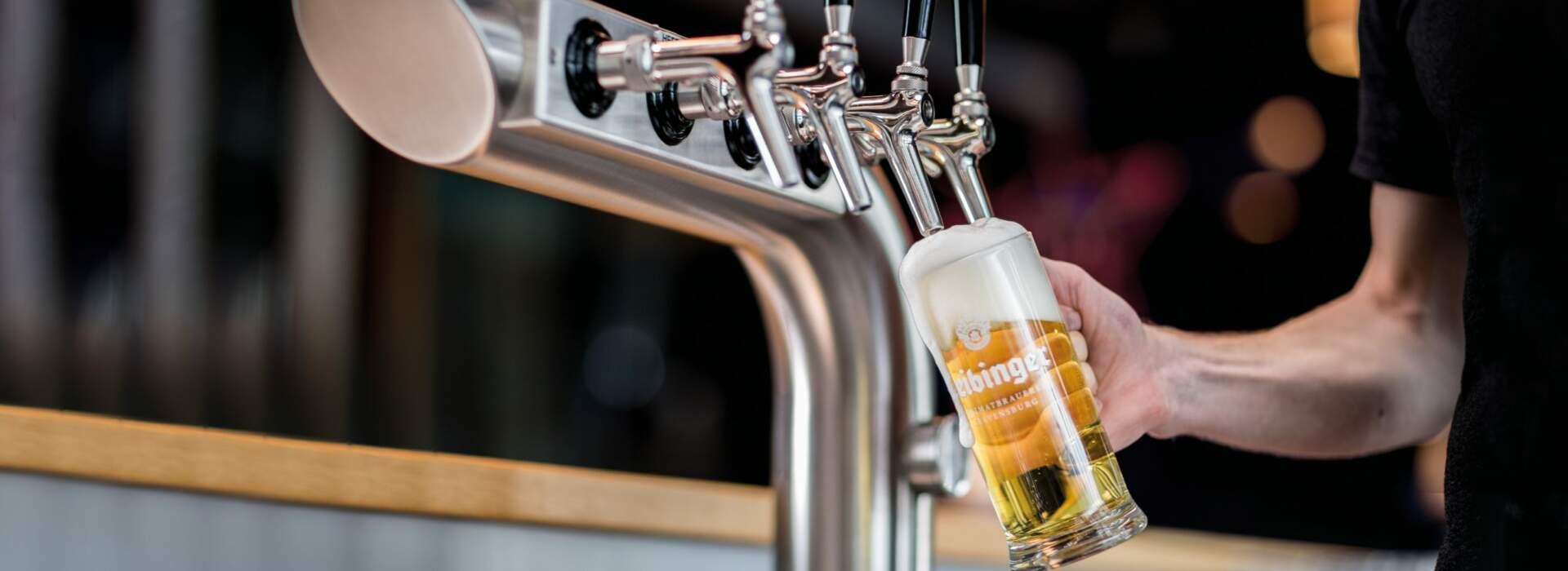 Frisch gezapftes Leibinger Bier